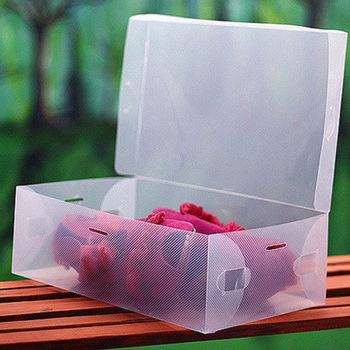 free shipping 6pcs/lot Flip women's crystal shoes box multi-colored candy color transparent plastic shoe box i9605