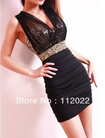 free shipping 2013 new nightclub women's low-cut sexy mesh was thin yarn perspective Lu backpack hip tight dress