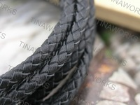FREE SHIPPING 10Yards 5.0mm Round Black Bolo Braided Real Leather Cord Beading Bracelets