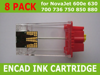 Free Shipping 8 Pack Empty Latest Ink Cartridge for Encad NovaJet PRO 600e 630 700 736 750 850 880 New