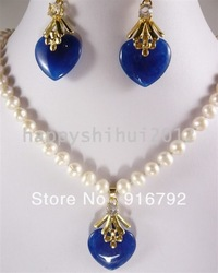 free shipping ******Fashion white freshwater pearl blue jade necklace earring set(China (Mainland))