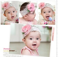 Free Shipping 10pcs/lot  Cute Mint Orange Girls Hair Band Sets Lace Flower Elasticity Baby Headband