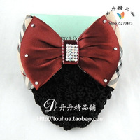 Red plaid double layer bow hair accessory hair accessory
