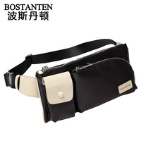 Male casual sport waist pack with high quality nylon fabric match top layer cowhide, also suitable for female