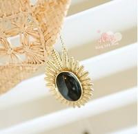 Vintage fashion large black stone olive leaf sweet bursa pendant necklace for women jewelry wholesale Free shipping