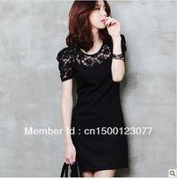 2013 new spring women fashion dresses  long sleeve lace stitching skirt hot style free shipping