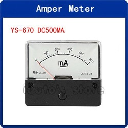 Class 2.5 Accuracy Analog DC 500mA Current Measuring Tool Panel Meter(China (Mainland))