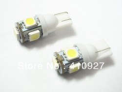 Free Shipping 10pcs T10 5W 5 SMD 5050 LED Wedge Light Bulb white Very bright(China (Mainland))
