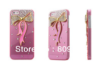 NEW Bling Crystal Rhinestone Gold Bowknot Case For iPhone 5,For iphone5 Bow Diamond Case,Retail Package,100pcs/Lot Free Shipping