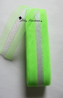 7 cm wide crinoline Horsehair Braid polyester mesh fabric (Lime with shimmer thread cross the middle) 100 yard/lot