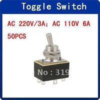 2-Position 6 Terminals DPDT Black Toggle Switch AC 220V/3A 110V/6A