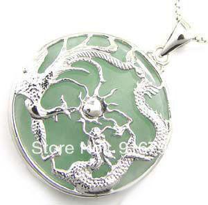 free shipping *******Natural Light Green Jade 18KWGP Dragon Phoenix Pendant and Necklace(China (Mainland))