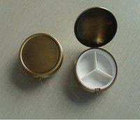3PCS Copper Pill Boxes DIY Metal Pill Organizer pill case & container