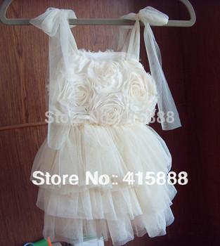 2014 Summer New Style Girls Cream Rose Party TUTU Dresses   kids TUTU dress,5pcs/lot,for 1-5T