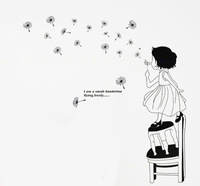 3D Sticker Wall Stickers Wall Paper Dandelion Girl Free Shipping