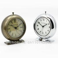 Newest Sailing Timepiece Alarm Clock Metal Case Round Quartz Clock Antique Style Clock Free Shipping