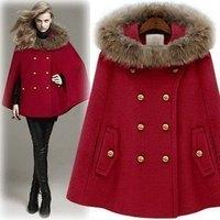 Hot! EUR-USA Women's Clothing  Wool & Blends  double breasted cloak raccoon fur woolen outerwear slim cloak overcoat female
