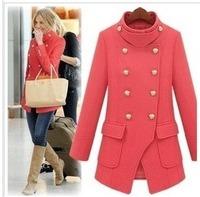 Hot! 2014 Women's Wool & Blends winter pink slim royal wool coat woolen outerwear female