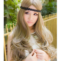 Fashion girl blonde curly hair temperament type long wig