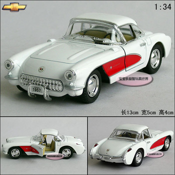 1:34 Chevrolet Corvette 1957 webworm white alloy car models free air mail