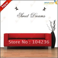NeW/HOT Family Sweet Dreams With Butterflies Quote/Vinyl Wall Decals:130*25cm Removable Waterpoof Wall Sticker 8014