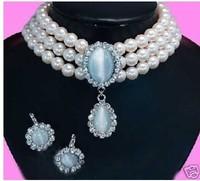 2013 New Fashion Jewelry Sets Beautifu Rare bridal 3 rows white pearl blue opal pendant Necklace earring set free shipping