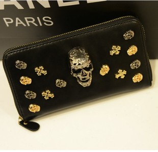 2013 wallet long design women's wallet rivet high quality punk skull(China (Mainland))