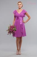 Luxurious V Neckline Cap Sleeves Chiffon Lilac Bridesmaid Dresses