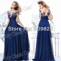 2013 Elegant V Neck Sequins Flowers Top Natural Waist A Line Chiffon Formal Evening Gowns Dresses 2013