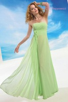 New Arrivals Green Bridesmaid Dress Strapless Full length Chiffon A-line long gown