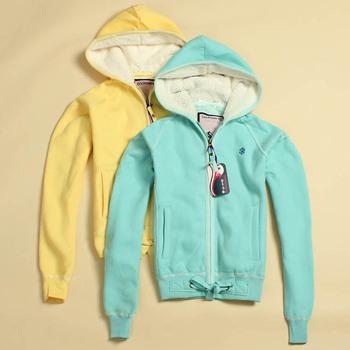 W067 hooded regular style candy color fleece sweatshirt 0.76kg