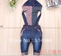 Promotion 3cs/lot baby suspender overalls girls boys long trousers jeans denim jumpsuit