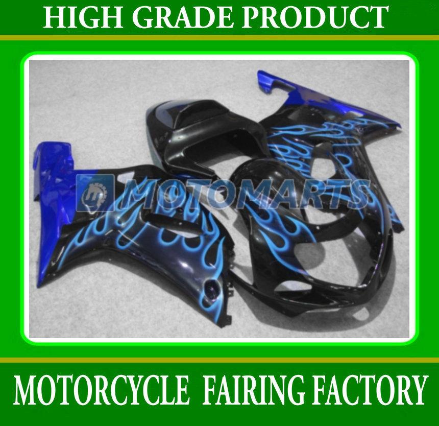 Body part anniversary blue flame plastic GSX-R600GSX-R750 2001-2003 fairings kit for SUZUKI GSXR600/750 01 02 03 ABS body parts(China (Mainland))