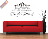 wholesale=40%Discount Off/ZooYoo8042/58cm Love Family Friend/English Quote/Window Car Stickers Vinyl Wall Art Decals/Home Decor