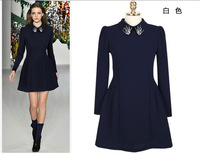 New arrival! 2013 Spring Fashion Beading Turn-down Collar Design Full Sleeves Vintage Women Dress S-XL Stock Free Shipping 1681