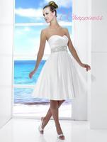 Elegant White Short Knee Length Beaded A-line Silhouette Wedding Dress formal bridal gowns