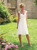 Hot Selling Short Chiffon Simple Tea Length Wedding Dress with Cap Sleeves