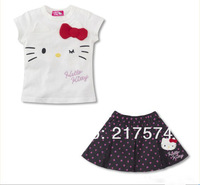 Retail Hello Kitty Set In stock 1set 2013  Summer  HELLO KITTY 2PIECES SETS DRESS+T-SHIRT WHITE /BLACK SIZE90CM---130CM