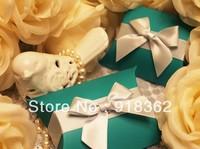 New Arrival!Free Shipping(100pcs/Lot) High quality,300g Art paper card wedding favor box,pillow shape,dark green,w/satin ribbon