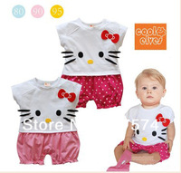 In stock Wholesale 5pcs2013  Summer Hello Kitty Baby Casual Romper Suit/white tshirt and dot shorts/100%cotton 5pcs/lot 80-95 cm