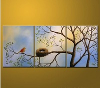 Free shipping!!100% Hand-painted Birds Oil Painting on canvas 3pc,size:40*50cm *3pc