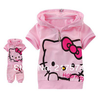 Hello Kitty Set Wholesale 5set 2013  Summer  Hello Kitty sports clothes sets girls summer sets children suit baby sport suit