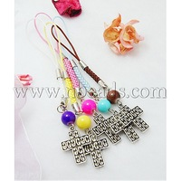 Closeout Cell Phone Straps,  with Round Glass Beads,  Tibetan Style Beads and Cord Loop with Alloy Findings and Nylon Cord