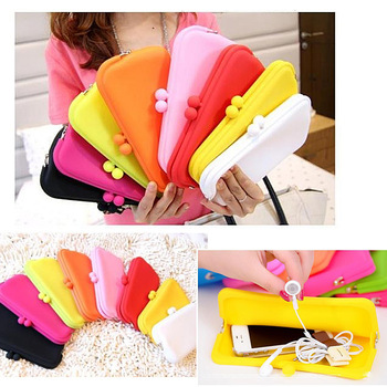 new hot sale candy color silica gel female purse cosmetic bag women Wallet mobile phone case sunglasses box