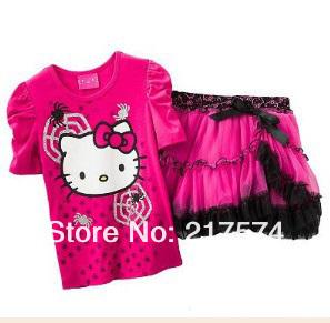 Hello Kitty Set Wholesale 5set/LOT 2013  Summer  Hello Kitty Tshirt+ Tutu Skirt Set /Hello Kitty Cartoon  tutu Clothing