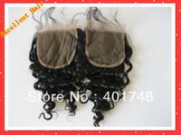 100%Human hair 4*4 Deep wave short hair lace front closure