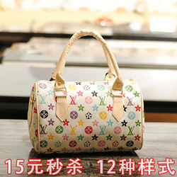 free shipping 2012 bucket bag handbag shoulder bag cross-body print vintage female bags fashion(China (Mainland))