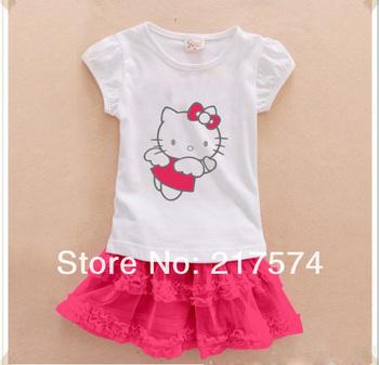 Hello Kitty Set Wholesale 5set/LOT 2013 Hello Kitty Girls Short Sleeve Tshirt + Tutu Skirts  Clothing Set  5sets / lot 2 colors