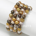 New Arriver Set Of 4 Multicolor Freshwater Pearl Stretch Bracelets 7-9mm Mixes 7.5&#39;&#39; Fashion Jewelry Wholesale Free Shipping