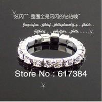 24pcs/Lot  Free Shipping Classic Delicate Elastic Silver Rhinestone Rings